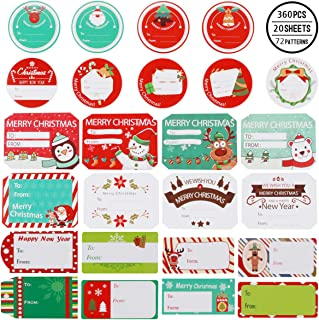Seasons Greetings Round Sticker Personalized Christmas Stickers Xmas Present Gift Stickers Customized Christmas Gift Labels Red Stripes