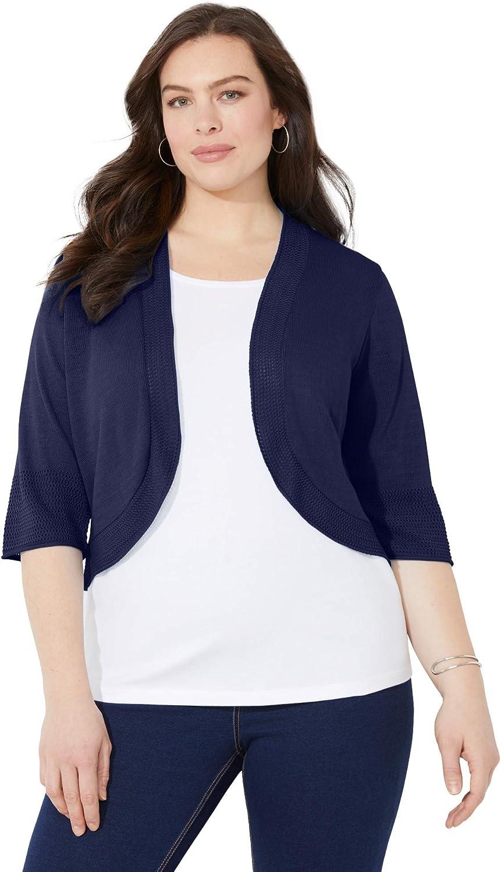 Catherines Women's Plus Size Petite Pointelle Shrug Cardigan