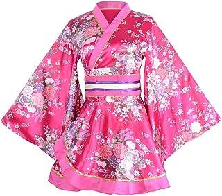 زي كيمونو رداء حمام ياباني تقليدي يوكاتا تأثيري للنساء مثير نمط ساكورا بقصة عالية طويلة كيمونو