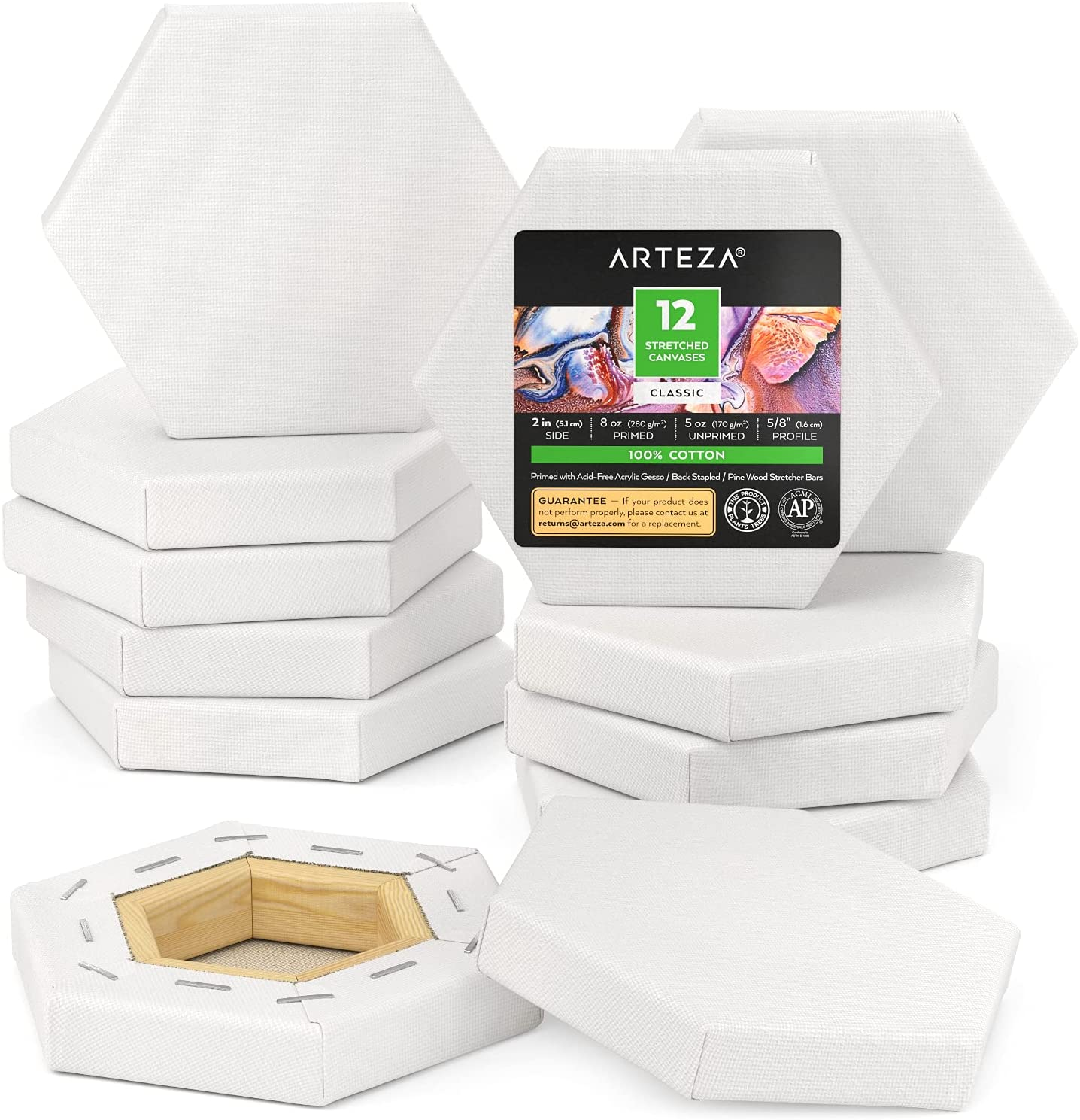 Arteza Stretched Canvas 12 Pack Super Special SALE held Blank Canv Dealing full price reduction 2 inches Hexagonal