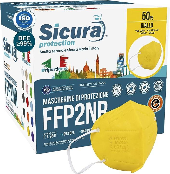 Mascherine ffp2 certificate ce colorate gialle made in italy filtraggio 99% 50 pezzi colore giallo - sicura B094W6ZC4L