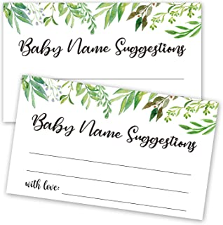 50 Baby Shower Name Suggestion Cards, Greenery Name Suggestion Cards for Baby Shower, Name Suggestion Game, Baby Shower Games, Baby Party Supplies, 3.5 x 2 Inches