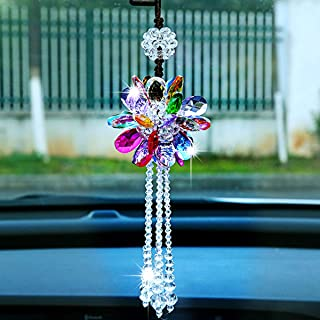 Car Rear View Mirror Pendant Crystal hanging Ornament Fashion Car Accessories Bling Colorful Mirror Pendant Lucky Crystal Auto Interior Decoration (Colorful)