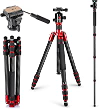 Neewer Carbon Fiber Tripod Monopod 63 inches/160 centimeters with 360 Degree Ball Head, Fluid Video Head, 1/4-inch Quick Shoe Plate and Bag for DSLR Camera,Video Camcorder up to 33 pounds/15 kilograms