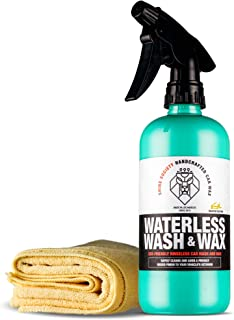 Shine Society Waterless Wash and Wax, Cleans Vehicles Without Water and Adds a Super Shine Finish, Safe and Finishes, Eco-Friendly, Microfiber Towel Included (18 oz)