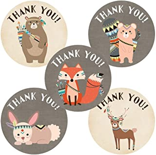 Tribal Woodland Forest Animals Thank You Sticker Labels - Birthday Baby Shower Party - Set of 50