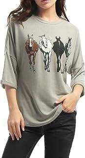 Allegra K (JP) レディース ラグランtシャツ カットソー トップス 馬柄 七分袖 丸首 バットスリーブ