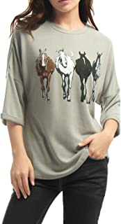 Women's Drop Shoulder 3/4 Sleeves Horse Print Loose Top
