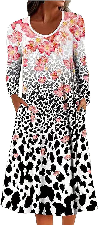 Midi Dresses for Women Long Sleeve Sun Dresses Loose Fit O Neck Beach Dresses Fashion Print Everyday Dress