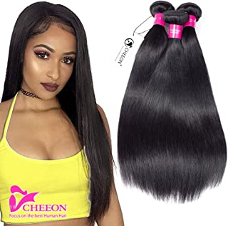 8A Malaysian Virgin Hair Straight 3 Bundles Deals 10 12 14 Inches 100% Unprocessed Human Hair Bundles Weave 300g Natural Black Can be Dyed CHEEON