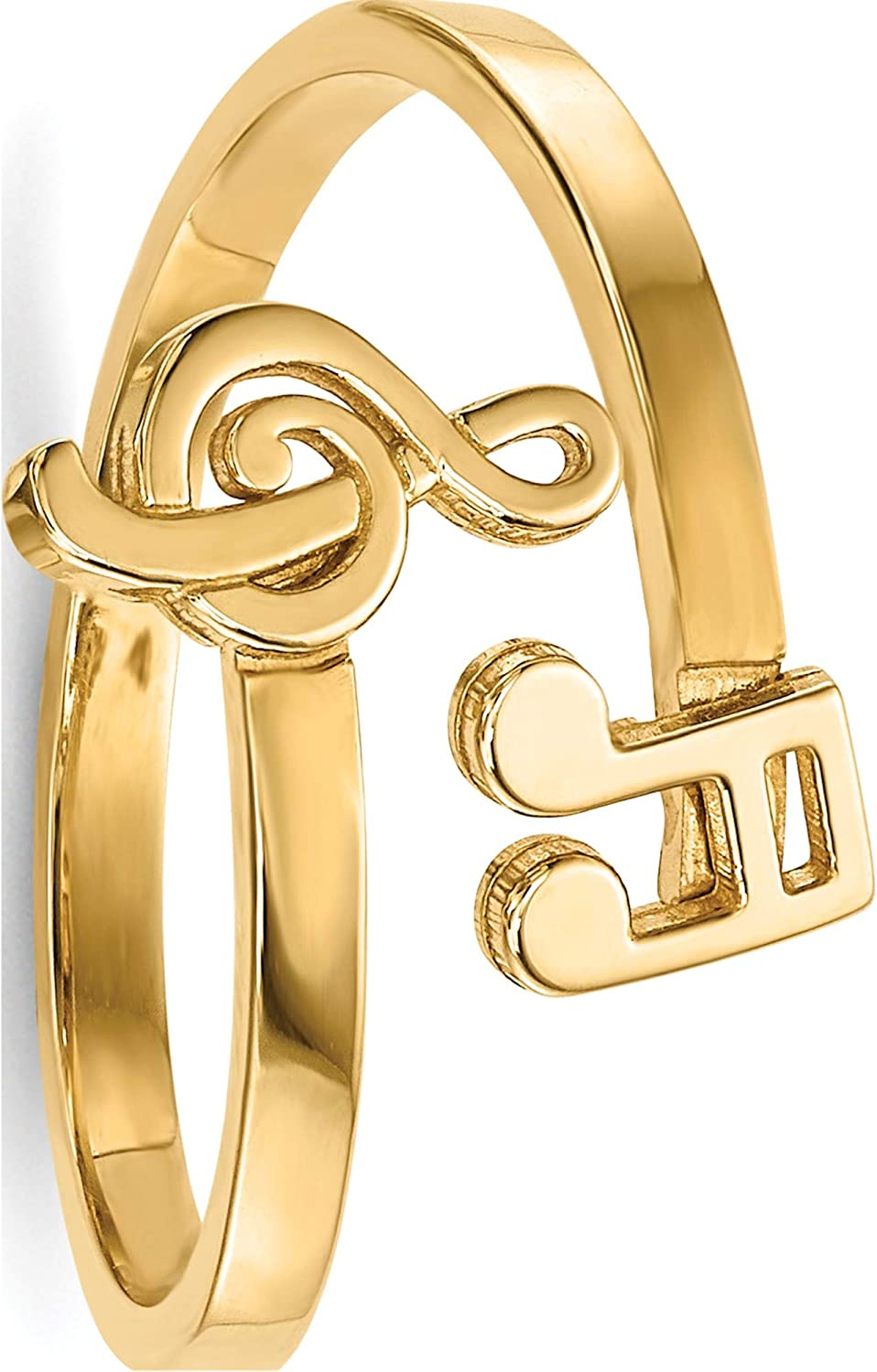 14K Yellow Gold Polished Music Notes Sw - Large-scale Oakland Mall sale Bypass Ring Jewelry By