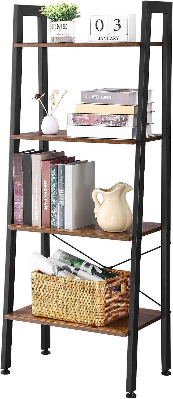 BEWISHOME Ladder Shelf Retro Bookcas Quality Ranking TOP20 inspection Industrial Bookshelf 4-Tier