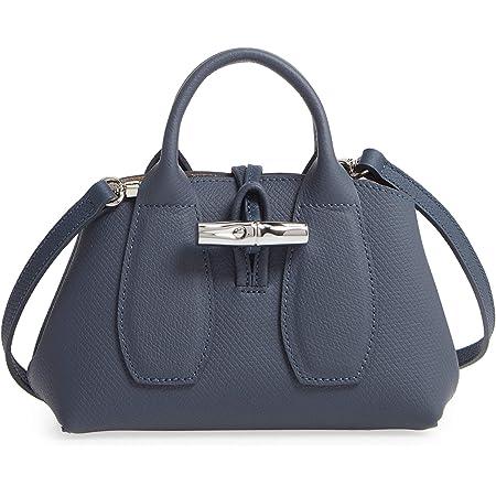 Amazon.com: LongChamp Women's Pilot Blue Leather Roseau Small ...