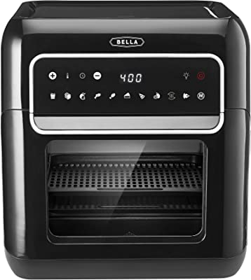 BELLA (14754) 10 Liter Air Convection Fryer Oven Dehydrator with Accessories Bundle, Black