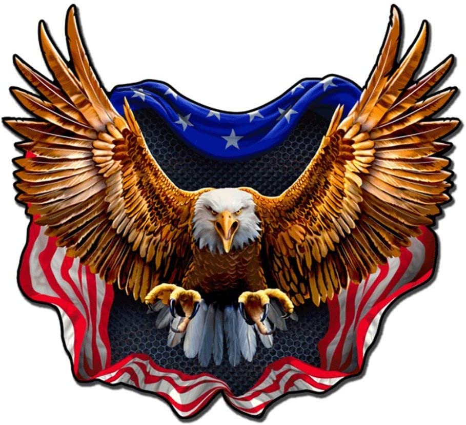 Built USA Bad New color Ass Eagle American New sales Permanent Decal Flag Waterp