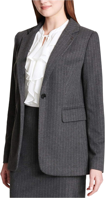 Tommy Hilfiger Womens Pinstripe One Button Blazer Jacket