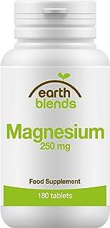 Earth Blends - Magnesio 250 mg, mantenimiento óseo, 180 comprimidos para adultos