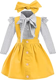 YOUNGER TREE Toddler Girl Outfits 1-4 T Long Sleeve Shirt Overall Skirt Headband Set School Uniform Dress