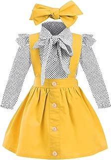 Toddler Girl Outfits 1-4 T Long Sleeve Shirt Overall Skirt Headband Set School Uniform Dress