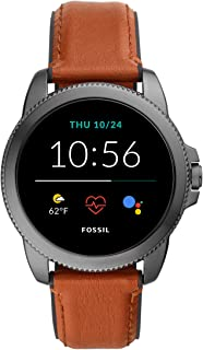 Fossil Gen 5E Men's Smartwatch with leather strap, Full Touch, AMOLED screen, Bluetooth calling, and Built-in GPS - FTW4055