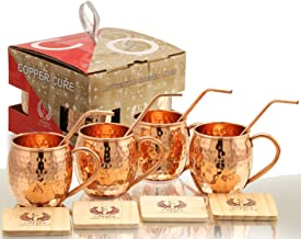 Moscow Mule Copper Mugs - Set of 4 - Highest Quality Gift Set - 100% HANDCRAFTED - Food Safe - Copper Moscow Mule Mugs - Pure Copper Mugs - 16 oz Hammered with BONUS: Copper Straws and Coasters