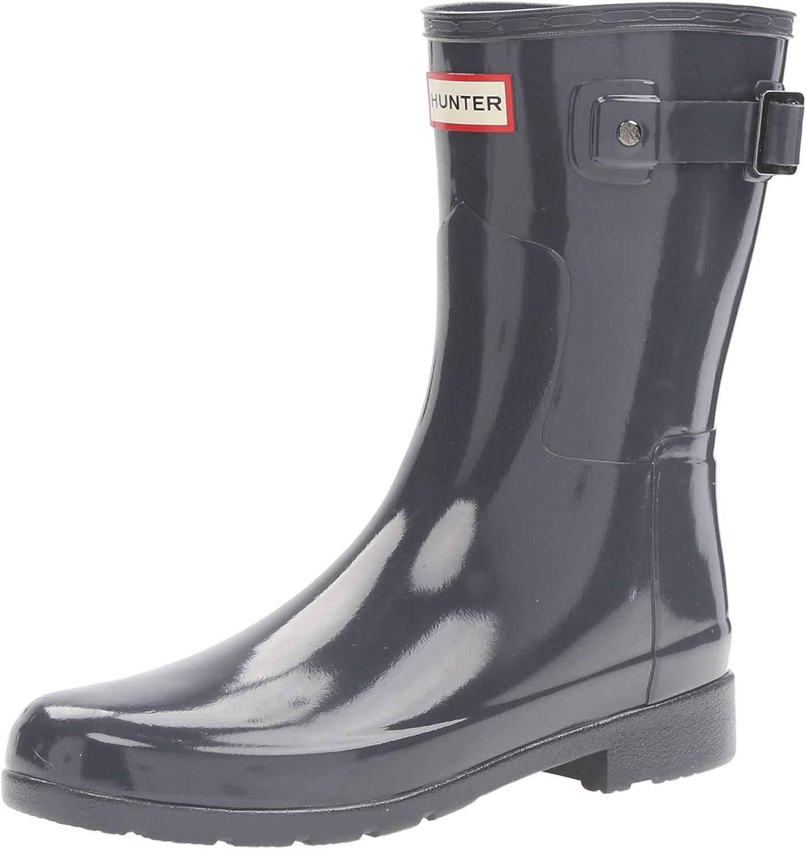 Hunters Boots Women's Original Refined Short Gloss Boots, Dark Slate, 5 M US