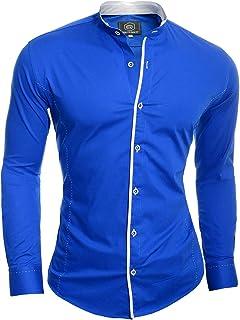 D&R Fashion Mens Elegant Long Sleeve Shirt Smart Grandad Collar Cotton White Blue Stitching