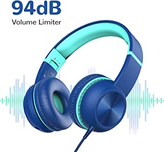iClever Kids Headphones, Headphone for Kids with Optional Volume Limiter 85/94dB, Share Function with Mic, Foldable, 3.5mm Aux Nylon Cable, Children Headphones On Ear for iPad/Airplane/School, Blue