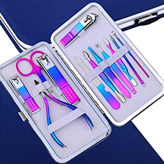 IFAN™ Professional Nail Clipper 12PCS in 1 Rainbow Stainless Steel Manicure Set Pedicure Combo Facial Care Tools Women