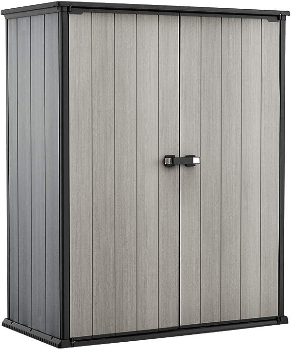 Box porta attrezzi, da esterno, grigio, 140 w x 73.6 d x 170.4 h cm keter 248724