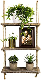 TIMEYARD Decorative Wall Hanging Shelf, 3 Tier Distressed Wood Jute Rope Floating..