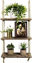TIMEYARD Decorative Wall Hanging Shelf, 3 Tier Distressed Wood Jute Rope Floating..