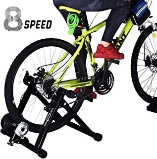 HEALTH LINE PRODUCT Bike Trainer Stand, Heavy Duty Stable Bike Stationary Riding Stand Supports 350lbs Bicycle Trainer with Quick Release Wheel Block & 8 Level Resistance