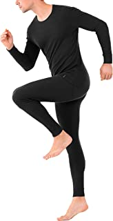David Archy Men's Rib Stretchy Ultra Soft Winter Warm Base Layer Top & Bottom Thermal Set Long Johns with Fly