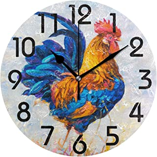 Naanle Chic Colorful Rooster Painting Print Round Wall Clock, 9.5 Inch Battery Operated Quartz Analog Quiet Desk Clock for Home,Office,School