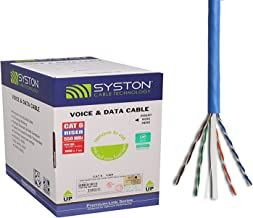 Cat6 Bulk Cable 500ft Pure Copper, Outdoor/Indoor Heat Resistant, Solid, 550Mhz, 23AWG, Riser Rated CMR, Blue