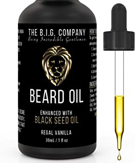 Beard Oil for Growth Formulated for Thicker, Fuller Beard and Moustache – Regal Vanilla Scent – Improves Beards Texture, Dandruff & Dryness – 24h Non-Greasy Deep Conditioning – Made in Canada – 1oz