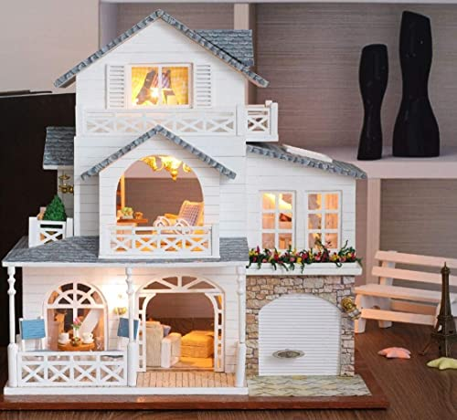 Wooden Doll House Mini DIY Doll Set LED Light Model Wood Studio Handwerk Baukasten Teen Romantic Gift (Nordic Town)