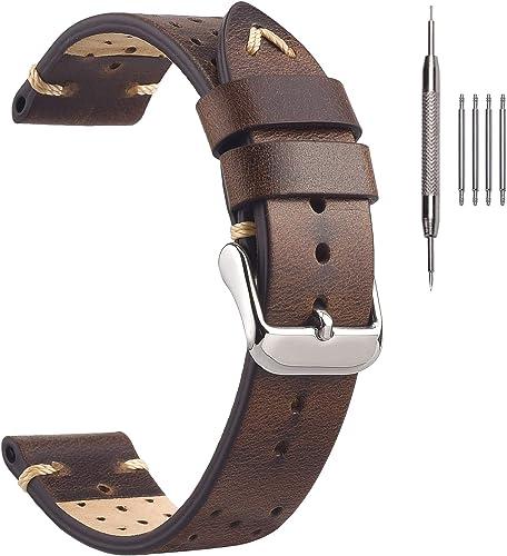 Bracelets de Montre en Cuir, Bracelets de Montre en Cuir EACHE Rally Racing Faits à la Main en Cuir de Daim perforé B...