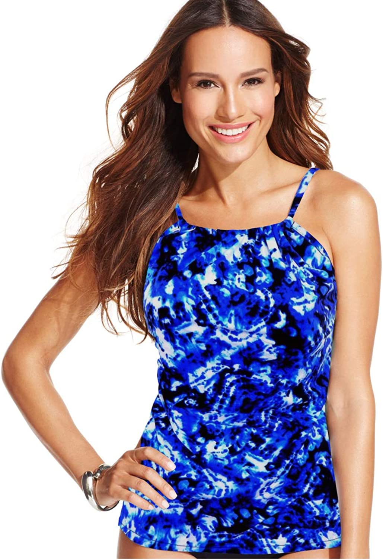 INC International Concepts Women's High Neck Printed Halter Tankini Swimsuit Top