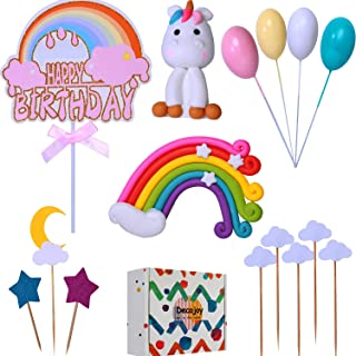 Decojoy Unicorn Rainbow Cake Topper Set, Reusable Unicorn Figurine and Colorful Rainbow Dash, With Glitter Birthday Banner for Girl, Gift Box Packing for Your Kids Party