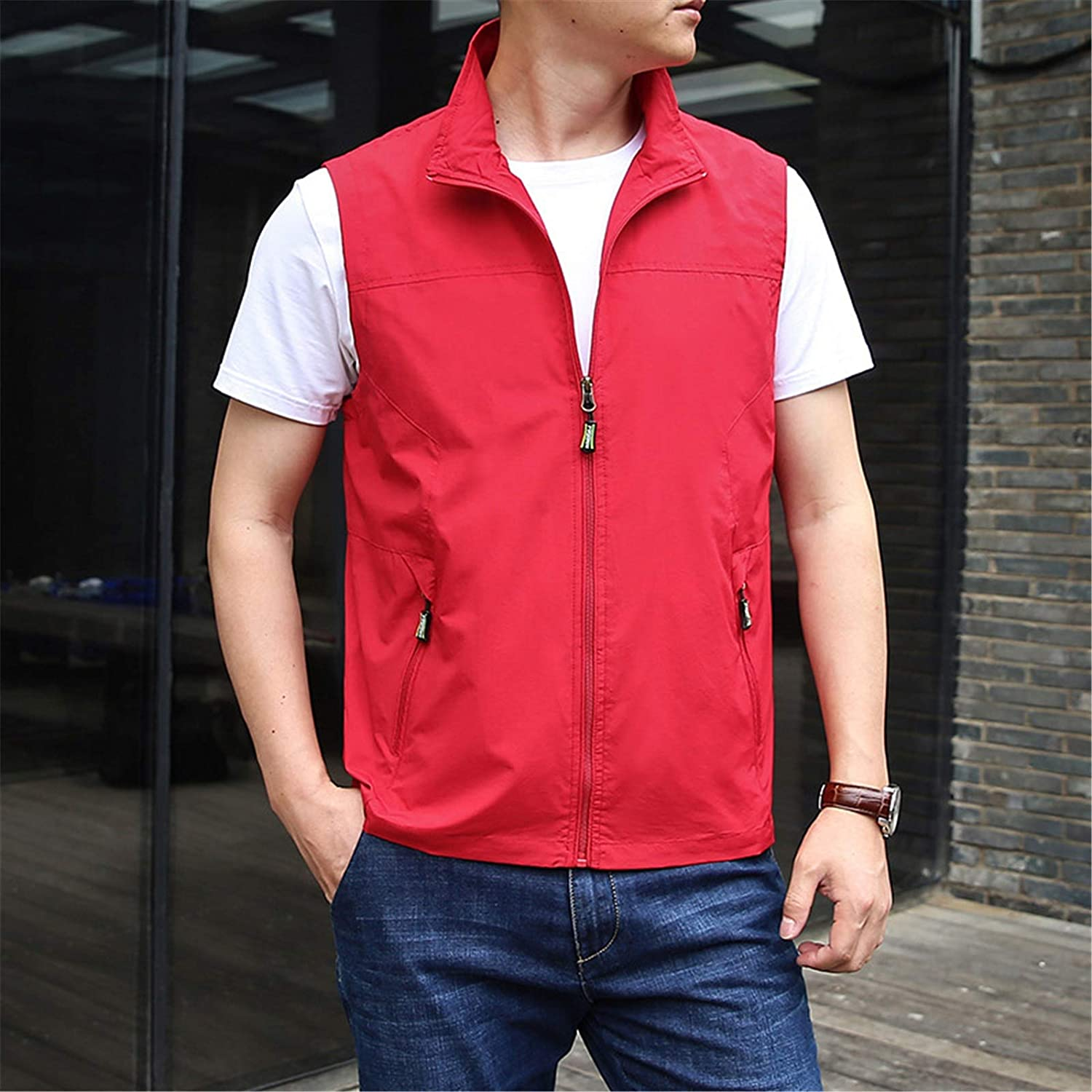Men's Soft and Cozy Vests, in 6 Colors: Sizes M~6XL,for Outdoor, Travel, Casual, Work, Lightweight Vest,Red,5XL