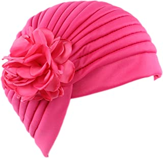 Choies Women's Side Flower Ruffle Chemo Pleated Muslim Turban Cancer Headband Beanie