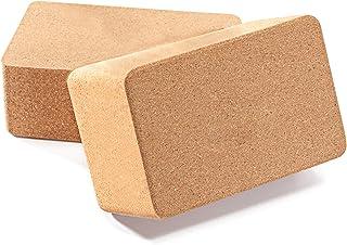 "Huryfox 2 Packs Cork Yoga Block, Non-Slip Exercise Brick Premium High Density Wood Yoga Bricks, Fitness Brick for Women & Men, Pilates, Training, Meditation, Gym, Home (9""x6""x3"")"