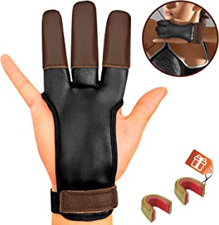 KESHES Archery Glove Finger Tab Accessories - Leather Gloves for Recurve & Compound Bow - Three Finger Guard for Men Women & Youth