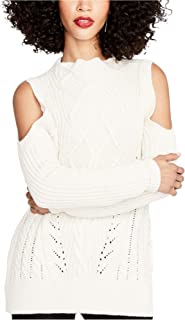 Rachel Roy Womens Cable-Knit Pullover Sweater
