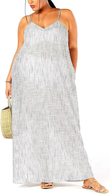 Raviya Plus Size Cotton Printed Maxi Dress Cover-Up Gray 3X