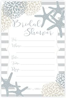 Nautical Bridal Shower Invitations - Fill In Style (20 Count) With Envelopes