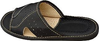 Big Size Cuir Pantoufles pour Hommes Chaussons Surdimensionnées Confortables - Pantoufles en Cuir de Grandes Tailles Noir ...