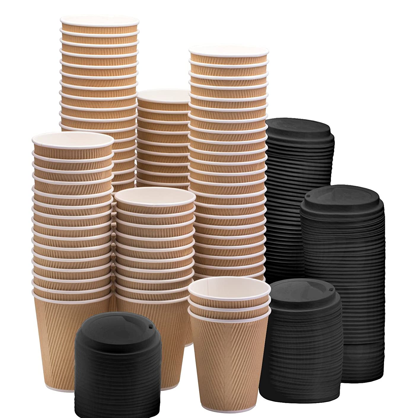 NYHI Set of 100 Ripple Insulated Kraft 16oz Paper Cups with 100 Black Lids for Hot Drinks-Tea & Coffee (100, 16 Ounce)